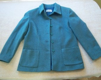 Petite Sophisticate brand wool jacket/Sea foam green wool jacket/Classic style jacket/Size Petite Small/Vintage clothing