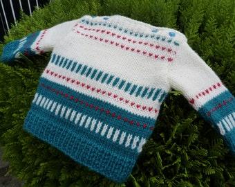 Soft wool baby sweater, Merino wool baby sweater, baby pull merino wool, fair isle baby sweater, superwash  baby sweater.