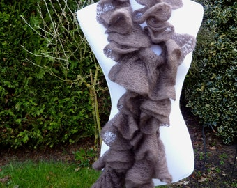 exclusive wool scarf. ruffled scarf knit, fashion scarf ruffled, soft knit scarf, brown chic scarf, romantic scarf, knit scarf.