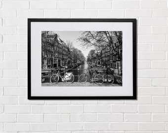 Amsterdam bikes, canal, printed on glossy or matte photo paper, Holland, B&W