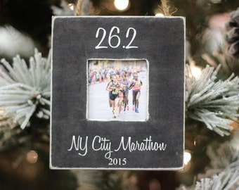 Marathon 26.2 Christmas GIFT Ornament Personalized Photo Ornament for Runner Marathon Half Marathon Race