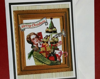 Fancy Embellished Greeting Card-Presents, Cookies, Birds, Feathers, Merry Christmas, Glitter