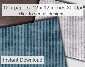Distressed Commercial Use scrapbooking paper, Downloadable grunge paper, digital striped patterned paper, blues, browns patterned paper pack