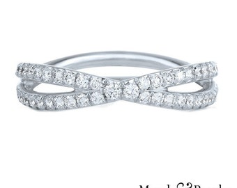 0.30 Ct. Brilliant Round Cut Infinity Shaped Diamond Wedding Band or Anniversary Ring on 14K White Gold