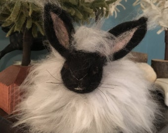 Rabbit, Angora Needlefelted HOLIDAY SALE
