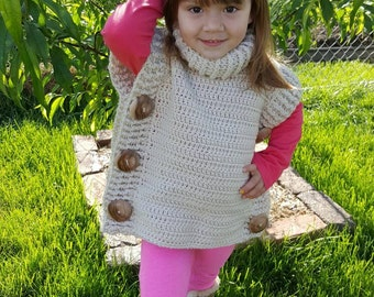 Crocheted Pullover with homemade wooden buttons, kids,  adults
