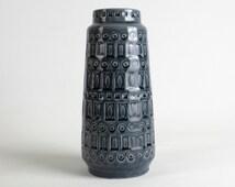 Grey vintage Scheurich ceramic vase Inka 260-22, West German Pottery, 70s, Modernist