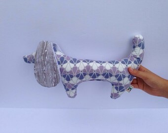 Stuffed Doggy Rattle white and purple with grey wood ears that crinkle