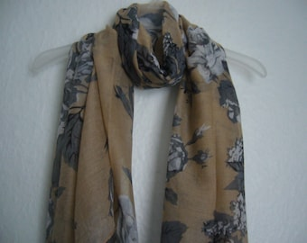 Beige and Grey Flower Scarf, For Her, Spring Summer Accessories