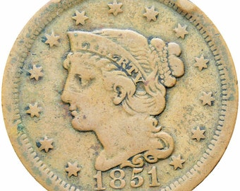 United States 1851 Braided Hair One Cent