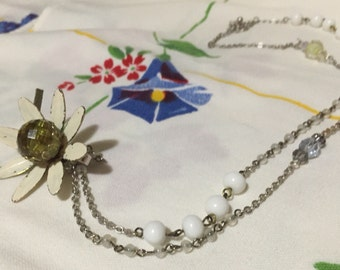 Enamel Daisy long vintage upcycled pendant chain necklace