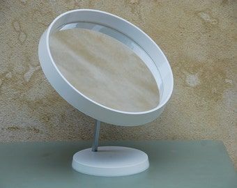 Scandinavian design mirror, Danish Termotex dressing table round mirror on pedestal base. White plastic in good condition. Retro design.