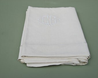 CG monogrammed pure linen sheet in original cream colour, unused. Large size. Linen for curtains or sewing.