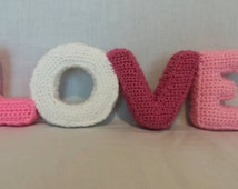 Crochet Love sign - Crochet Wording - Crochet Home Décor - Love Ornaments - Crochet Lettering - Bedroom Accessories - Teenagers Gifts