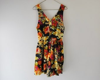 90s Cage Back Floral Romper Playsuit With Front Buttons And Pockets