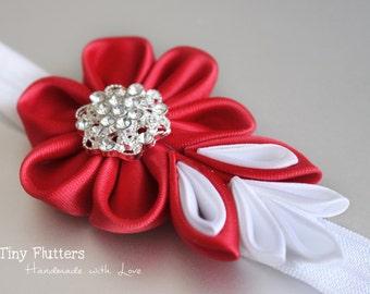 Christmas headband - Red and white baby headband - size newborn to 3T - elastic headband with ribbon flower - red headband