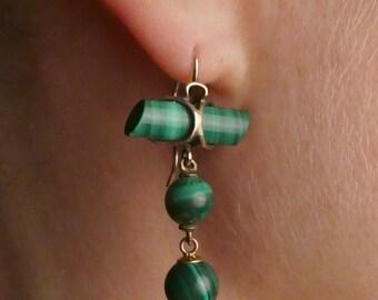 Beautiful rare Malachite vermeil earrings