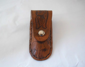 Small leather hand tooled pocket knife sheath(Wildebeest)