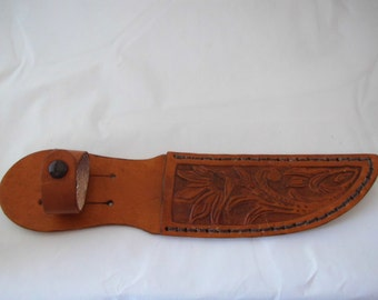 Small hand tooled leather knife sheath Made in Montana