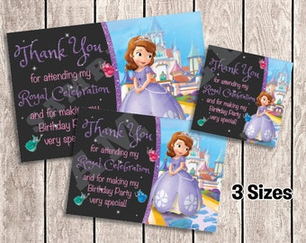 3 Sizes - Sofia the First Thank You Cards / Favor Tags for Birthday Party | Printable  | INSTANT DOWNLOAD