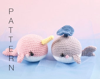 Amigurumi crochet kawaii whale - Willy the Blue Whale and Nelly the Narwhal PATTERN ONLY (English)