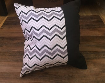 Black and grey chevron throw pillow