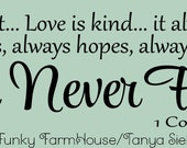 SVG, DXF & PNG - Love is patient ... Love is kind... it always protects. always trust, always hopes, always perseveres. Love never fails