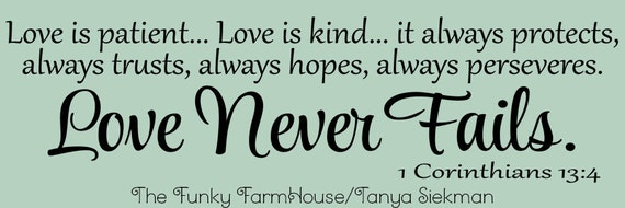 SVG & PNG - Love is patient ... Love is kind... it always protects. always trust, always hopes, always perseveres. Love never fails
