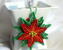 Poinsettia lace bulb - brooch - FSL - dentelle - Machine embroidery digitization./INSTANT DOWNLOAD