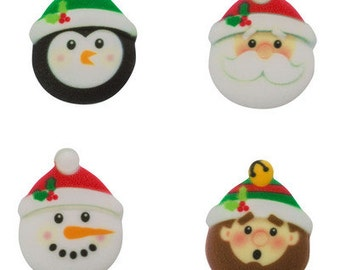 12 Pack Christmas Characters Edible SugarSoft Cake and Cupcake Decorations