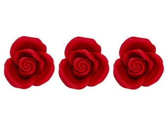"""6 Pack Red 1.5"""" Roses Flowers Edible SugarSoft Cake and Cupcake Decorations"""