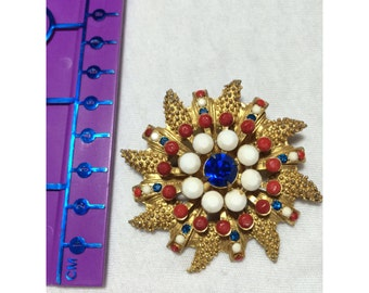 vintage red, white and blue brooch