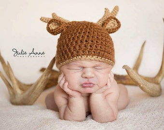 Newborn Props - Deer Hat for Newborn - Hunting Hat - Deer Beanie - Knit Deer Hat - Baby Shower Gift - Woodland Theme Gift - Newborn Hat