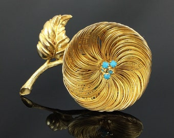 Vintage Turquoise Glass Trembler Gold Wire Flower Brooch - Vintage 1960s Flower Power Brooch