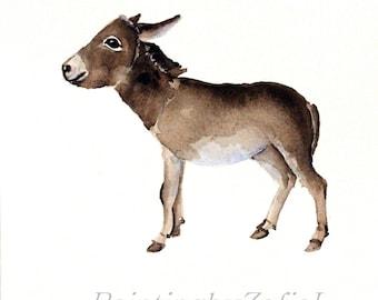 donkey original watercolor painting baby donkey farm animals size: 9 x 12 in (23 x 31 cm)