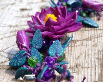 Handmade Polymer Clay Bracelet - Unique Lotus Flower