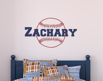 Personalized Name Baseball Wall Decal   Custom Name Baseball Wall Sticker    Vinyl Decal Monogram Girls