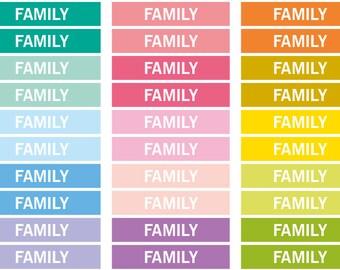 Family Heading stickers, planner header stickers, planner stickers, agenda notebook journal stickers, eclp filofax happy planner kikkik
