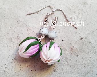 Flower round earrings