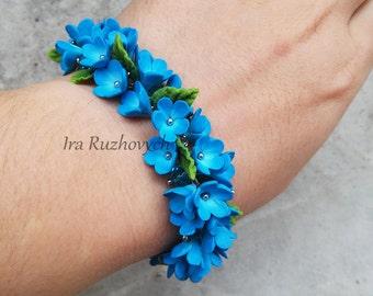 Polymer Clay Jewelry, Flower Charm Bracelet, Handmade Flowers Bracelet