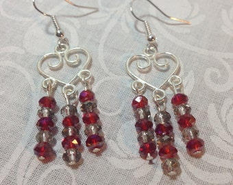 Red and White Heart Chandelier Earrings