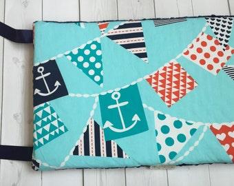 Nautical Baby Bedding - Boy Bedding - Anchor - Bumper Pads - Ahoy Matey - Crib Bedding - Ready to Ship - Navy Minky Dot - Nursery