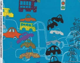 Traffic Jam in Blue Quilting Fabric by Alexander Henry - cars, boys