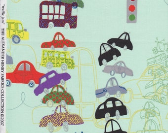 Traffic Jam in Mint Quilting Fabric by Alexander Henry - Cars, Boys