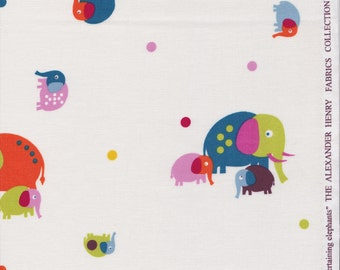 Entertaining Elephants in White by Alexander Henry -Quilting Cotton Fabric - OOP