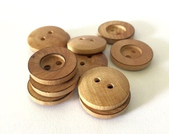 12pcs - 20mm Light Brown Wooden Buttons - 2 Hole Wood Button
