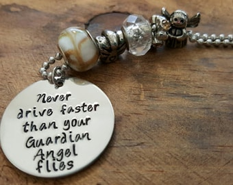 Never Drive Faster Than Your Guardian Angel Flies Car Charm, Rearview Mirror Charm, Handstamped Car Charm, Protection Charm