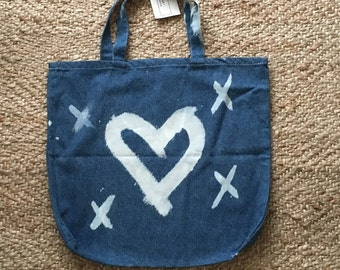 Denim heart painted market tote - SAMPLE