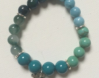 Mixed Blue Beads Stretch Bracelet with Charms