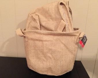 Monogram Large Burlap Bag